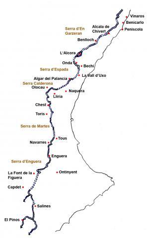 mapa del traçat del trasvas de l'Ebre
