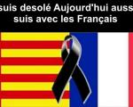 Composicio senyera i bandera francesa en el crespo negre en mig
